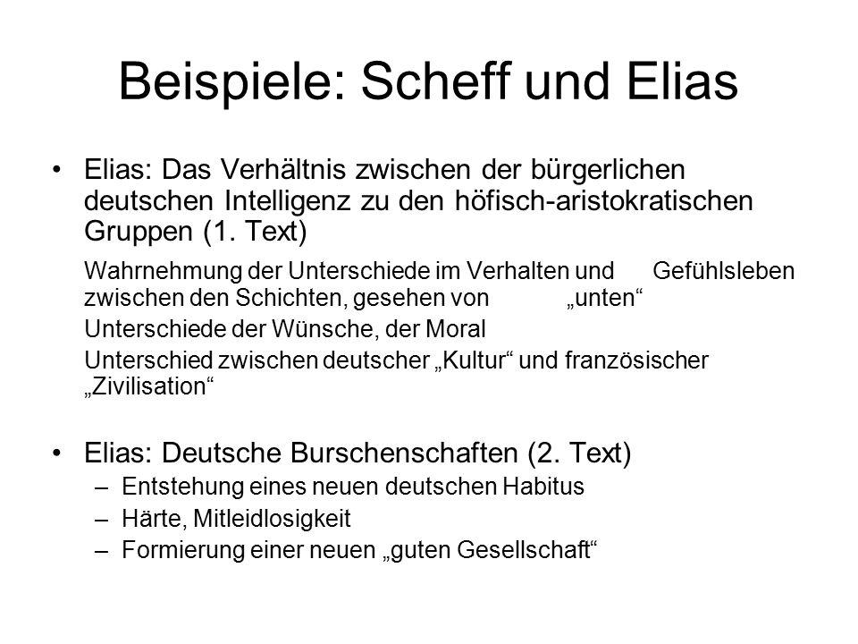Beispiele: Scheff und Elias Elias: Das Verhältnis zwischen der bürgerlichen deutschen Intelligenz zu den höfisch-aristokratischen Gruppen (1. Text) Wa