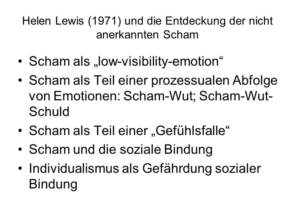 """Helen Lewis (1971) und die Entdeckung der nicht anerkannten Scham Scham als """"low-visibility-emotion"""" Scham als Teil einer prozessualen Abfolge von Emo"""