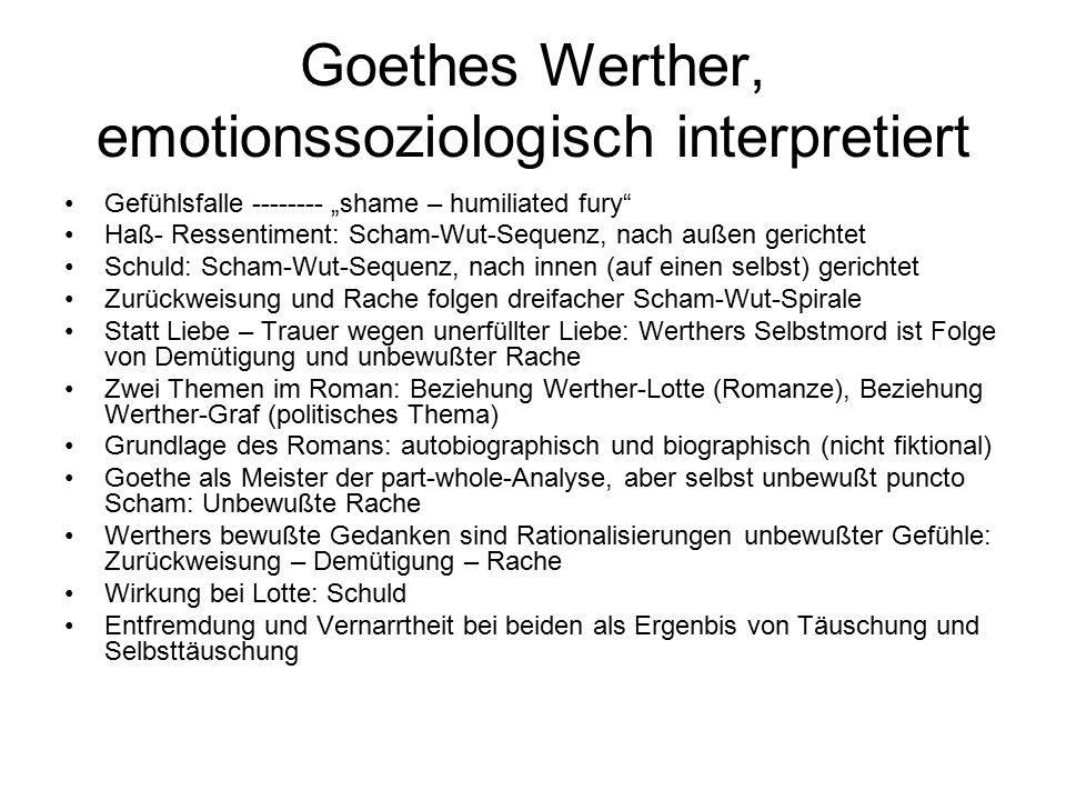 """Goethes Werther, emotionssoziologisch interpretiert Gefühlsfalle -------- """"shame – humiliated fury"""" Haß- Ressentiment: Scham-Wut-Sequenz, nach außen g"""