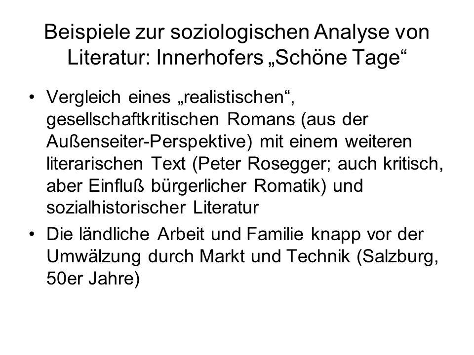 """Beispiele zur soziologischen Analyse von Literatur: Innerhofers """"Schöne Tage"""" Vergleich eines """"realistischen"""", gesellschaftkritischen Romans (aus der"""
