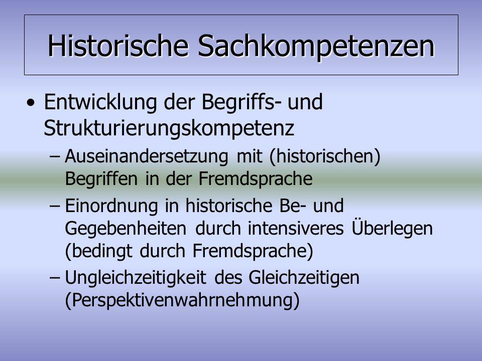 Historische Sachkompetenzen Entwicklung der Begriffs- und Strukturierungskompetenz –Auseinandersetzung mit (historischen) Begriffen in der Fremdsprach