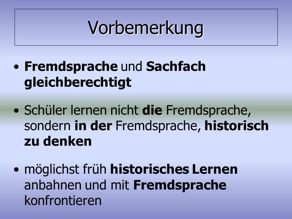 """Historische Kompetenz im """"Bilingualen Geschichtsunterricht Sachfach(didaktik) + Fremdsprachen(didaktik) = Kompetenzförderung + x Sachfach (didaktik)  Geschichte Fremd- sprachen (didaktik)  Englisch"""