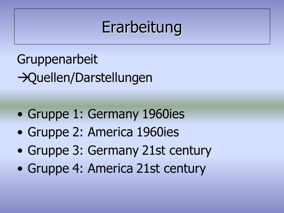 Erarbeitung Gruppenarbeit  Quellen/Darstellungen Gruppe 1: Germany 1960ies Gruppe 2: America 1960ies Gruppe 3: Germany 21st century Gruppe 4: America