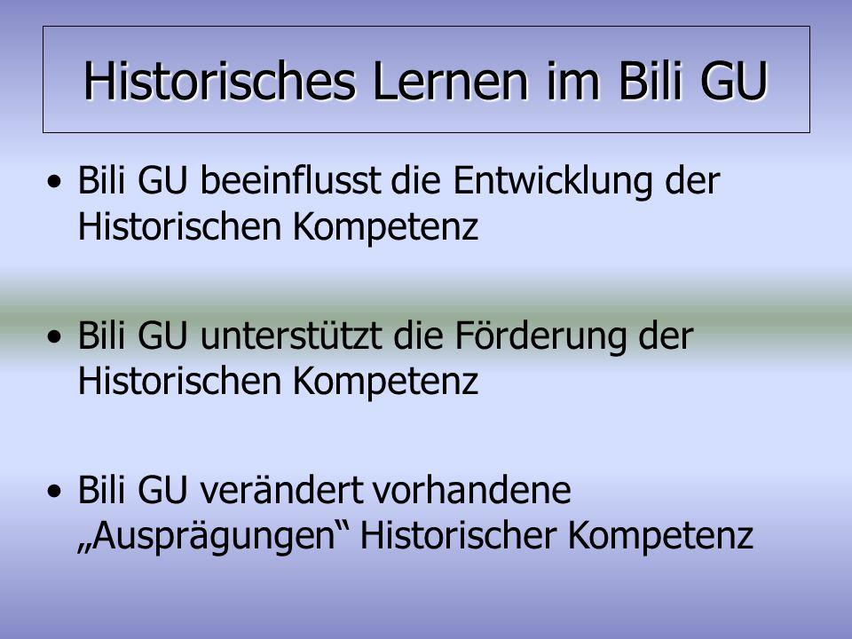 Historisches Lernen im Bili GU Bili GU beeinflusst die Entwicklung der Historischen Kompetenz Bili GU unterstützt die Förderung der Historischen Kompe