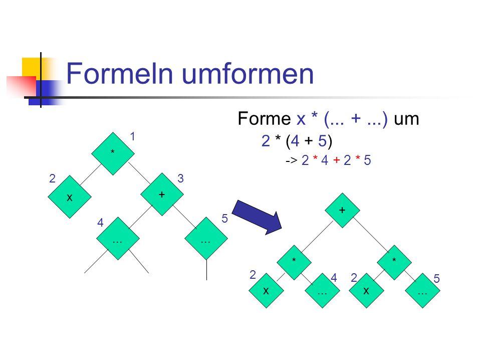 """Berechnen – Beispiel berechnen(f) = case f of ZAHL n -> n PLUS f1 f2 -> berechnen(f1) + berechnen(f2) MAL f1 f2 -> berechnen(f1) * berechnen(f2) SIN f -> sin (berechnen(f)) COS f -> cos (berechnen(f)) VAR v -> [""""auslesen von Variable v ]"""
