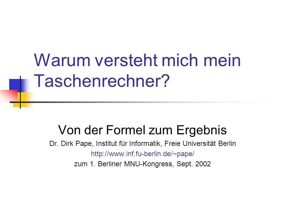 Umformen – Beispiel umformen(f) = case f of ZAHL n -> ZAHL n PLUS f1 f2 -> PLUS (umformen(f1)) (umformen(f2)) MAL f1 (PLUS f2 f3) -> PLUS (umformen(MAL f1 f2)) (umformen(MAL f1 f3)) MAL f1 f2 -> MAL (umformen(f1)) (umformen(f2)) SIN f -> SIN (umformen(f)) COS f -> COS (umformen(f)) VAR v -> VAR v