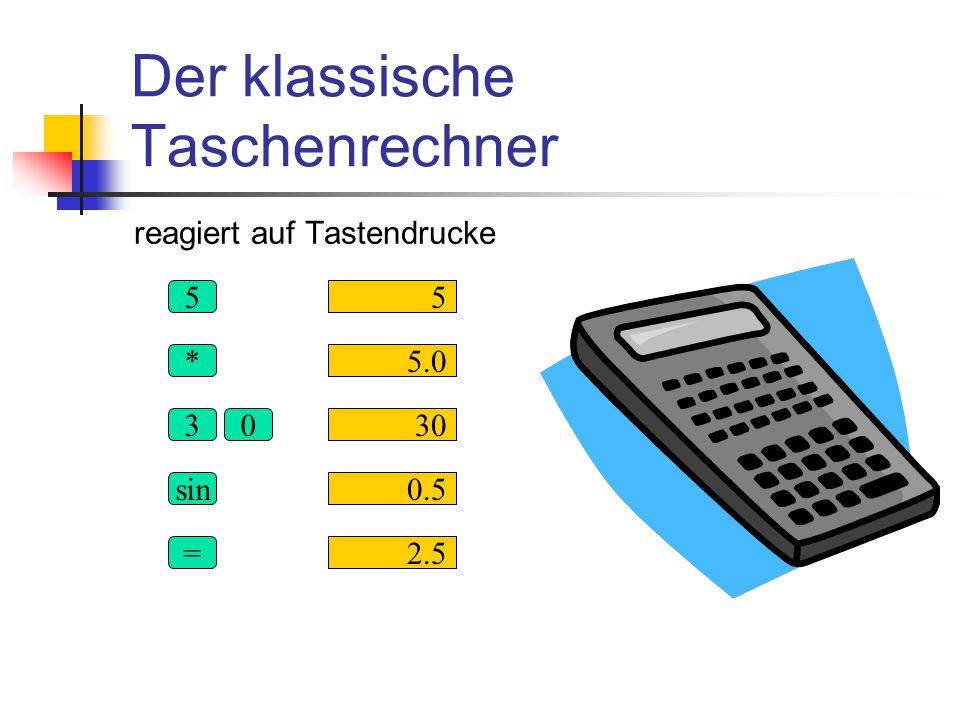 Der klassische Taschenrechner reagiert auf Tastendrucke 30 sin = 55 * 30 2.5 0.5 5.0