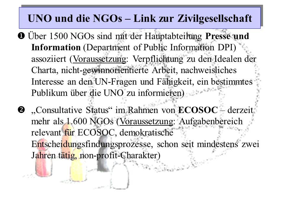 UNO und die NGOs – Link zur Zivilgesellschaft  Über 1500 NGOs sind mit der Hauptabteilung Presse und Information (Department of Public Information DP