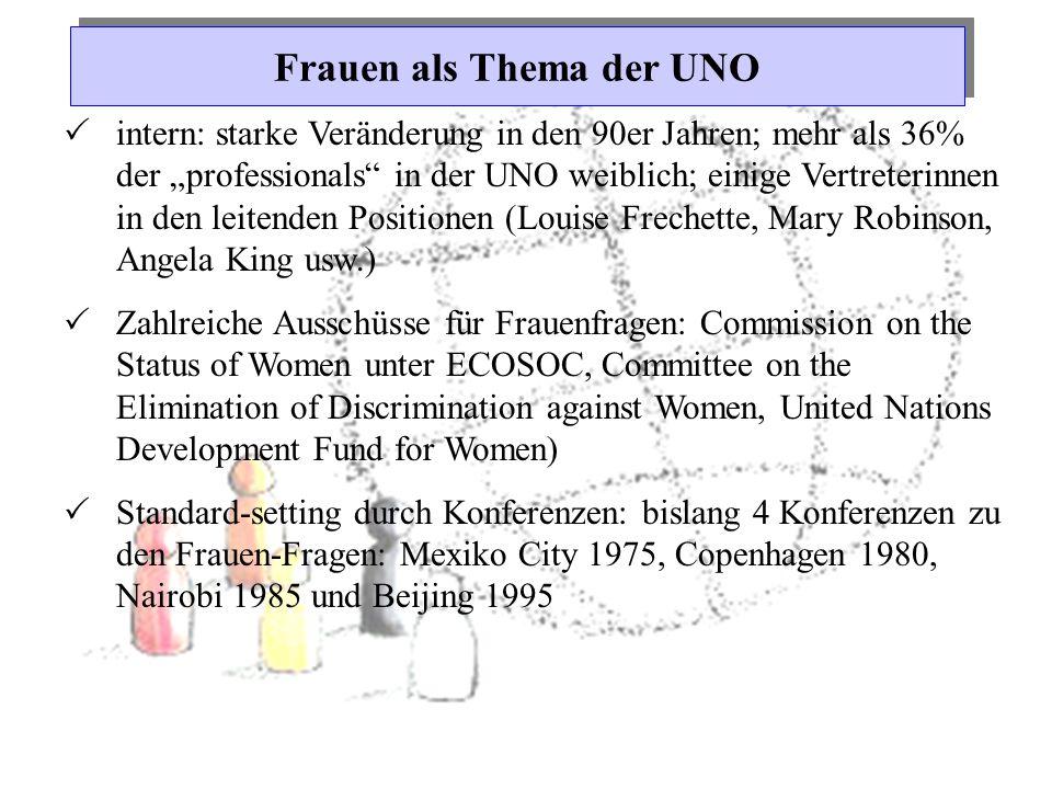 """Frauen als Thema der UNO  intern: starke Veränderung in den 90er Jahren; mehr als 36% der """"professionals"""" in der UNO weiblich; einige Vertreterinnen"""