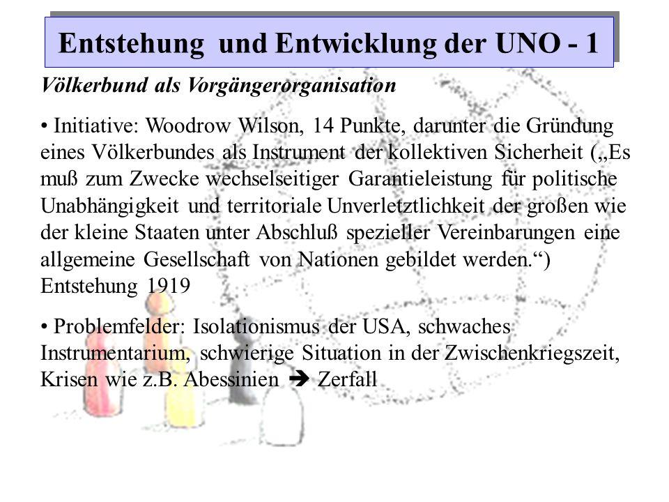 Entstehung und Entwicklung der UNO - 1 Völkerbund als Vorgängerorganisation Initiative: Woodrow Wilson, 14 Punkte, darunter die Gründung eines Völkerb