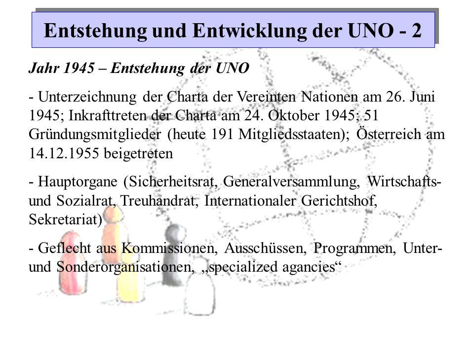 Entstehung und Entwicklung der UNO - 2 Jahr 1945 – Entstehung der UNO - Unterzeichnung der Charta der Vereinten Nationen am 26. Juni 1945; Inkrafttret