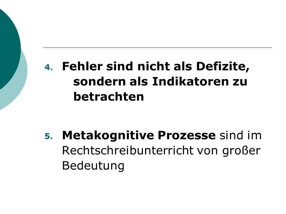 4. Fehler sind nicht als Defizite, sondern als Indikatoren zu betrachten 5. Metakognitive Prozesse sind im Rechtschreibunterricht von großer Bedeutung