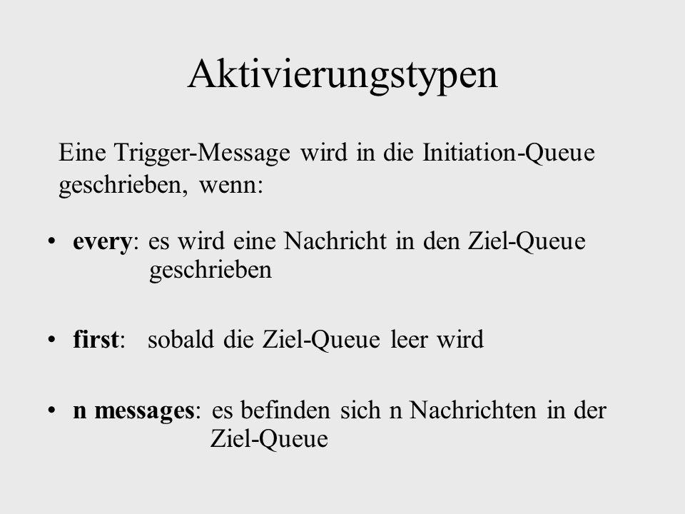 Aktivierungstypen every: es wird eine Nachricht in den Ziel-Queue geschrieben first: sobald die Ziel-Queue leer wird n messages: es befinden sich n Nachrichten in der Ziel-Queue Eine Trigger-Message wird in die Initiation-Queue geschrieben, wenn: