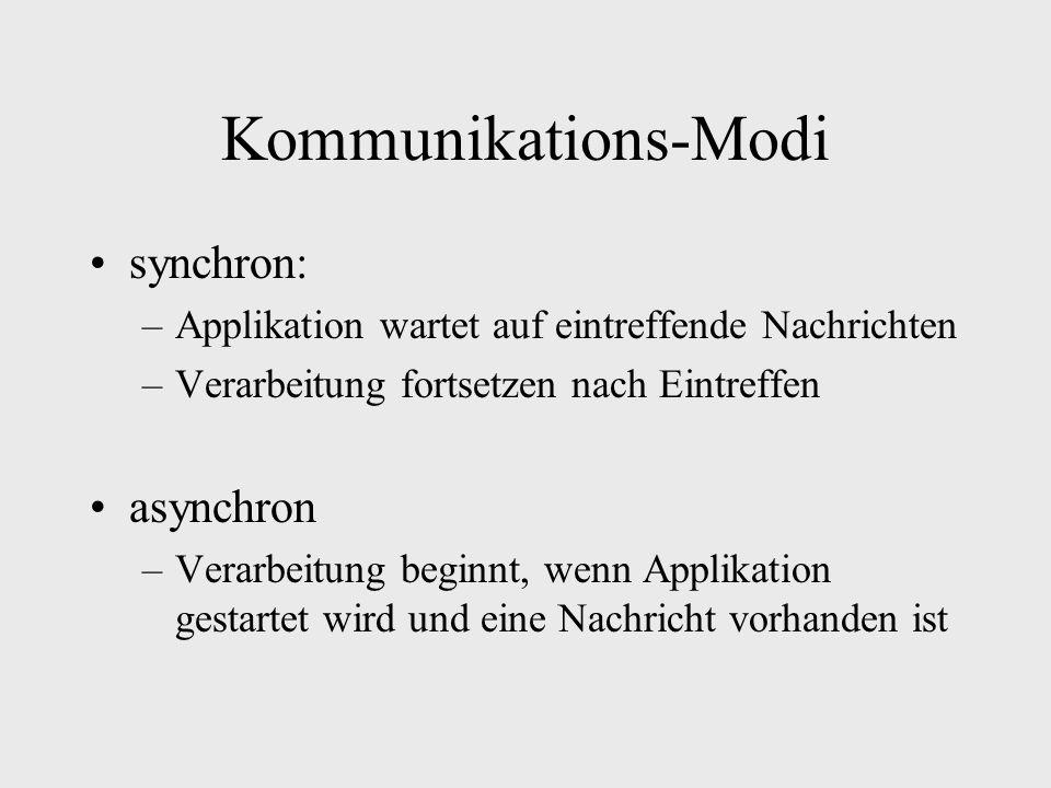 Kommunikations-Modi synchron: –Applikation wartet auf eintreffende Nachrichten –Verarbeitung fortsetzen nach Eintreffen asynchron –Verarbeitung beginnt, wenn Applikation gestartet wird und eine Nachricht vorhanden ist