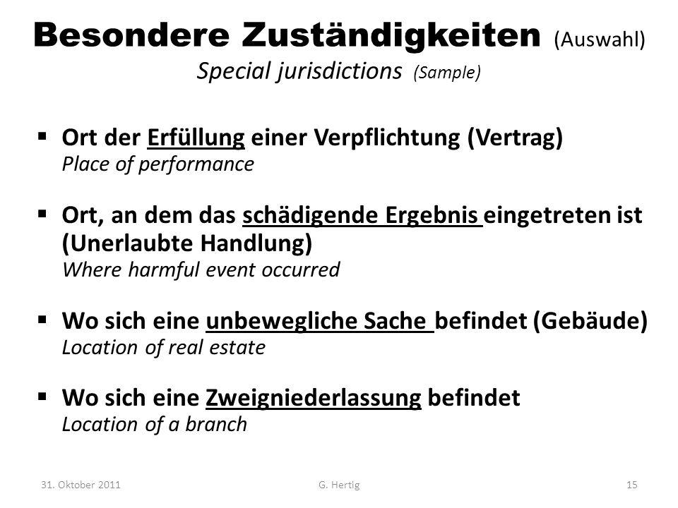 Besondere Zuständigkeiten (Auswahl) Special jurisdictions (Sample)  Ort der Erfüllung einer Verpflichtung (Vertrag) Place of performance  Ort, an de