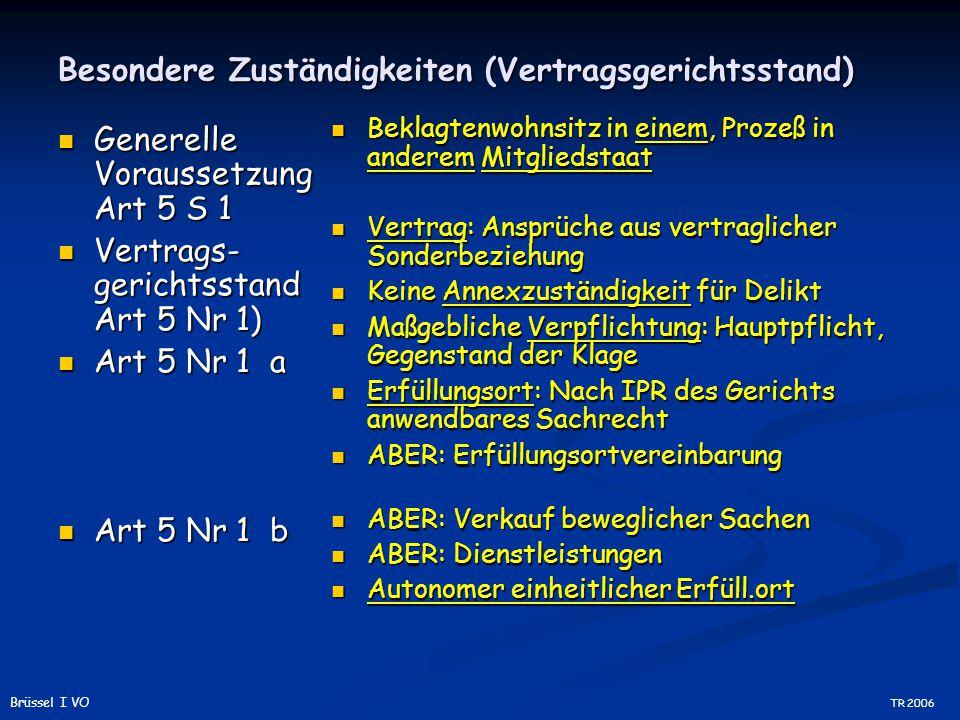 Besondere Zuständigkeiten (Vertragsgerichtsstand) Generelle Voraussetzung Art 5 S 1 Generelle Voraussetzung Art 5 S 1 Vertrags- gerichtsstand Art 5 Nr 1) Vertrags- gerichtsstand Art 5 Nr 1) Art 5 Nr 1 a Art 5 Nr 1 a Art 5 Nr 1 b Art 5 Nr 1 b Beklagtenwohnsitz in einem, Prozeß in anderem Mitgliedstaat Vertrag: Ansprüche aus vertraglicher Sonderbeziehung Keine Annexzuständigkeit für Delikt Maßgebliche Verpflichtung: Hauptpflicht, Gegenstand der Klage Erfüllungsort: Nach IPR des Gerichts anwendbares Sachrecht ABER: Erfüllungsortvereinbarung ABER: Verkauf beweglicher Sachen ABER: Dienstleistungen Autonomer einheitlicher Erfüll.ort TR 2006 Brüssel I VO