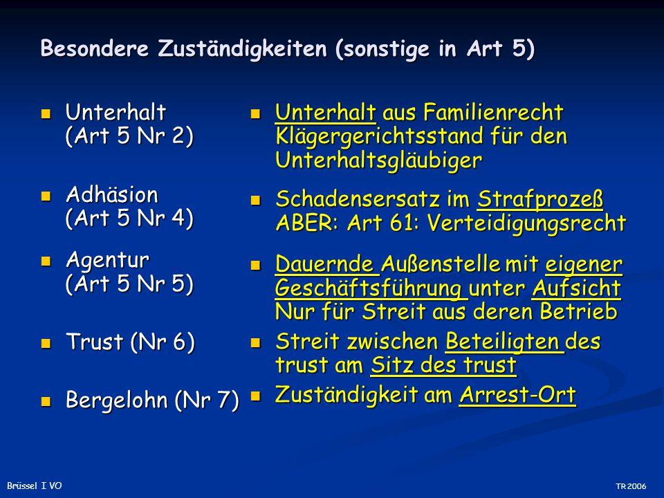 Besondere Zuständigkeiten (sonstige in Art 5) Unterhalt (Art 5 Nr 2) Unterhalt (Art 5 Nr 2) Adhäsion (Art 5 Nr 4) Adhäsion (Art 5 Nr 4) Agentur (Art 5 Nr 5) Agentur (Art 5 Nr 5) Trust (Nr 6) Trust (Nr 6) Bergelohn (Nr 7) Bergelohn (Nr 7) Unterhalt aus Familienrecht Klägergerichtsstand für den Unterhaltsgläubiger Schadensersatz im Strafprozeß ABER: Art 61: Verteidigungsrecht Dauernde Außenstelle mit eigener Geschäftsführung unter Aufsicht Nur für Streit aus deren Betrieb Streit zwischen Beteiligten des trust am Sitz des trust Zuständigkeit am Arrest-Ort TR 2006 Brüssel I VO