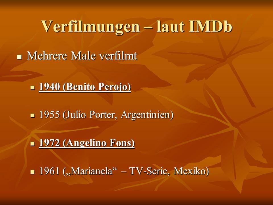 Verfilmungen Video (1940) Video (1940) Regisseur: Benito Perojo Regisseur: Benito Perojo Sprache: Spanisch Sprache: Spanisch Darstellung: schwarz-weiß Darstellung: schwarz-weiß Aufbau: linear, die Szenenabfolge ist fast mit den Kapiteln des Buchs ident Aufbau: linear, die Szenenabfolge ist fast mit den Kapiteln des Buchs ident Text: sehr viel Text aus dem Buch übernommen Text: sehr viel Text aus dem Buch übernommen DVD (1972) DVD (1972) Regisseur: Angelino Fons Sprache: Spanisch Drehorte: Covadonga, Oviedo, Asturias Darstellung: in Farbe Aufbau: sehr frei, die Szenenabfolge folgt überhaupt nicht den Kapiteln des Buchs, ein Flash-Back (zeigt Marianela als Baby) Text: weniger Text aus dem Buch übernommen