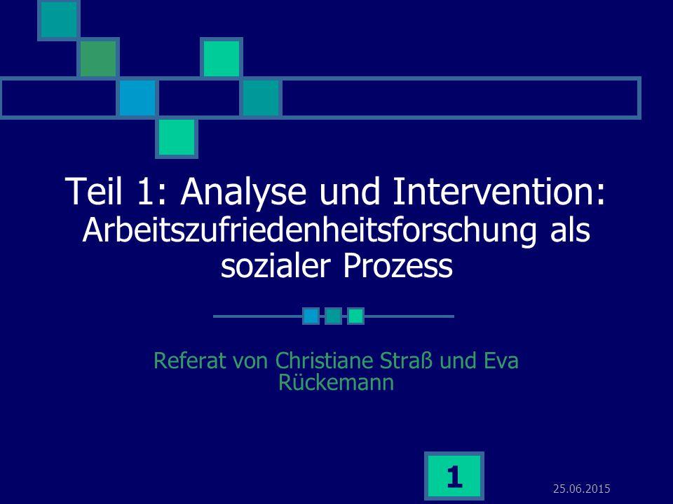 25.06.2015 1 Teil 1: Analyse und Intervention: Arbeitszufriedenheitsforschung als sozialer Prozess Referat von Christiane Straß und Eva Rückemann