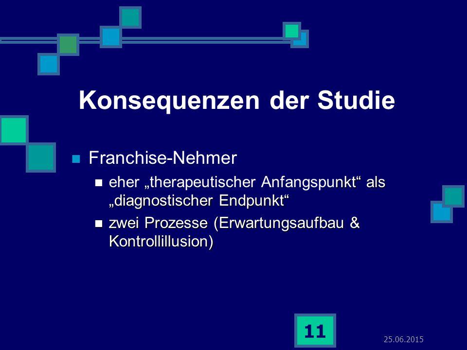 """25.06.2015 11 Konsequenzen der Studie Franchise-Nehmer nkt"""" als """"diagnostischer Endpunkt"""" eher """"therapeutischer Anfangspunkt"""" als """"diagnostischer Endp"""