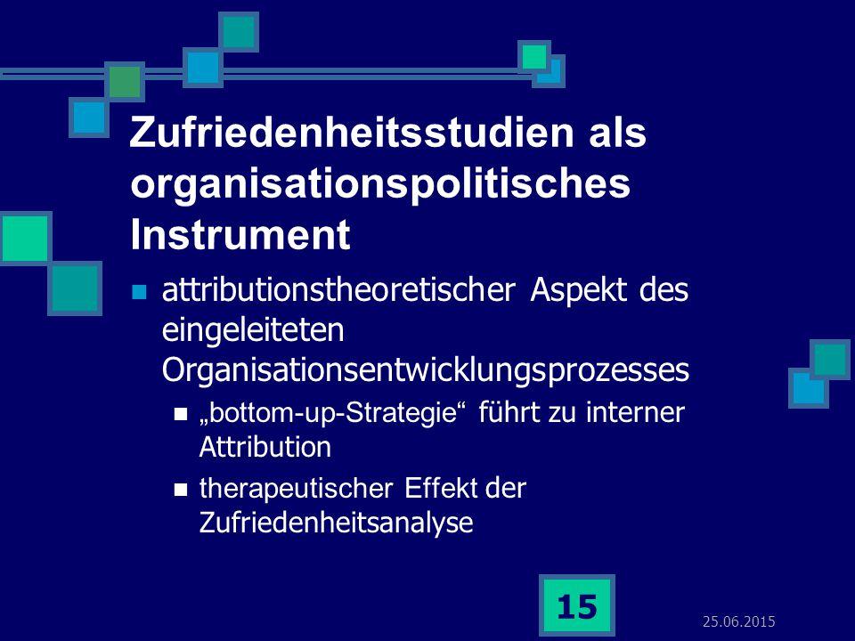 25.06.2015 15 Zufriedenheitsstudien als organisationspolitisches Instrument attributionstheoretischer Aspekt des eingeleiteten Organisationsentwicklun