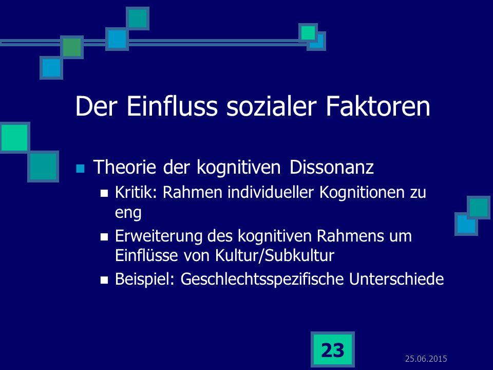25.06.2015 23 Der Einfluss sozialer Faktoren Theorie der kognitiven Dissonanz Kritik: Rahmen individueller Kognitionen zu eng Erweiterung des kognitiv