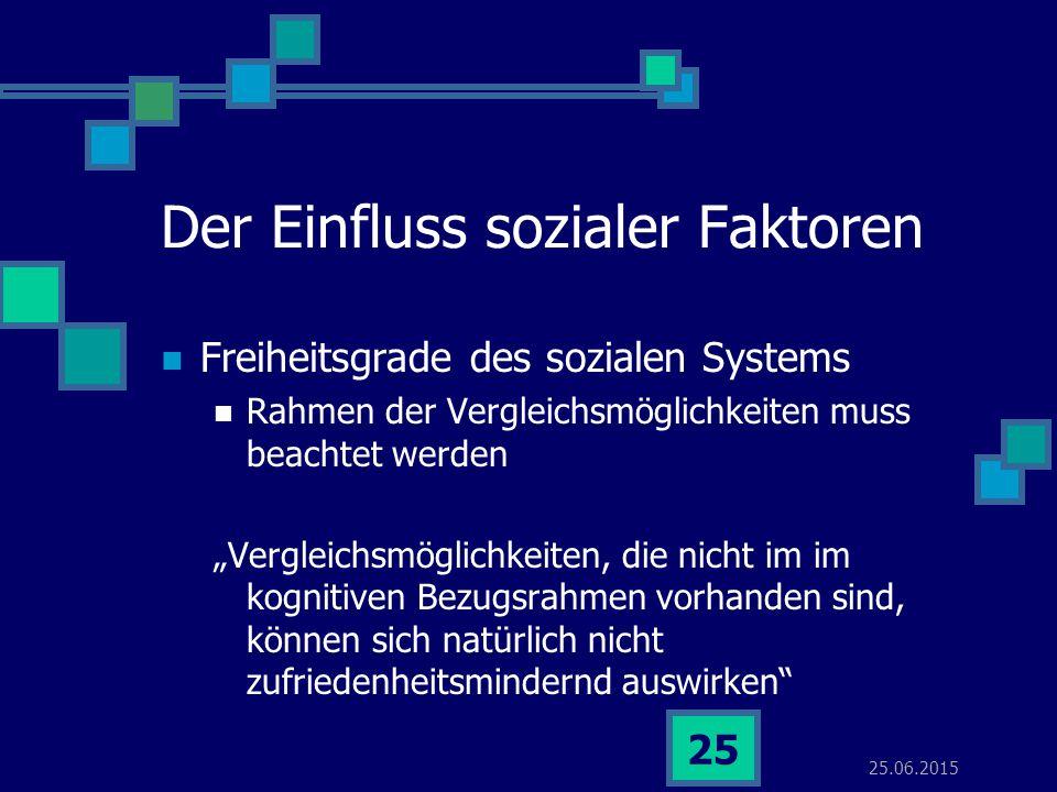 """25.06.2015 25 Der Einfluss sozialer Faktoren Freiheitsgrade des sozialen Systems Rahmen der Vergleichsmöglichkeiten muss beachtet werden """"Vergleichsmö"""