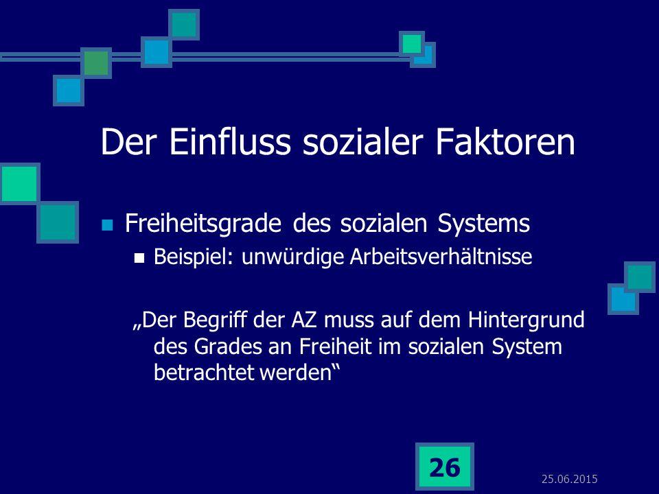 """25.06.2015 26 Der Einfluss sozialer Faktoren Freiheitsgrade des sozialen Systems Beispiel: unwürdige Arbeitsverhältnisse """"Der Begriff der AZ muss auf"""