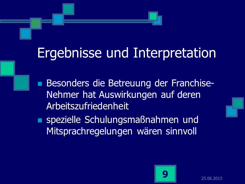 25.06.2015 9 Ergebnisse und Interpretation Besonders die Betreuung der Franchise- Nehmer hat Auswirkungen auf deren Arbeitszufriedenheit spezielle Sch