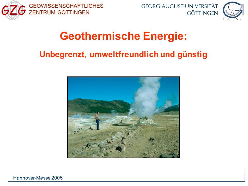 GEOWISSENSCHAFTLICHES ZENTRUM GÖTTINGEN Hannover-Messe 2005 Große Teile Deutsch- lands (in der Karte hellgrün) sind für die Erzeugung künstlicher geothermischer Reser- voire besonders ge- eignet.