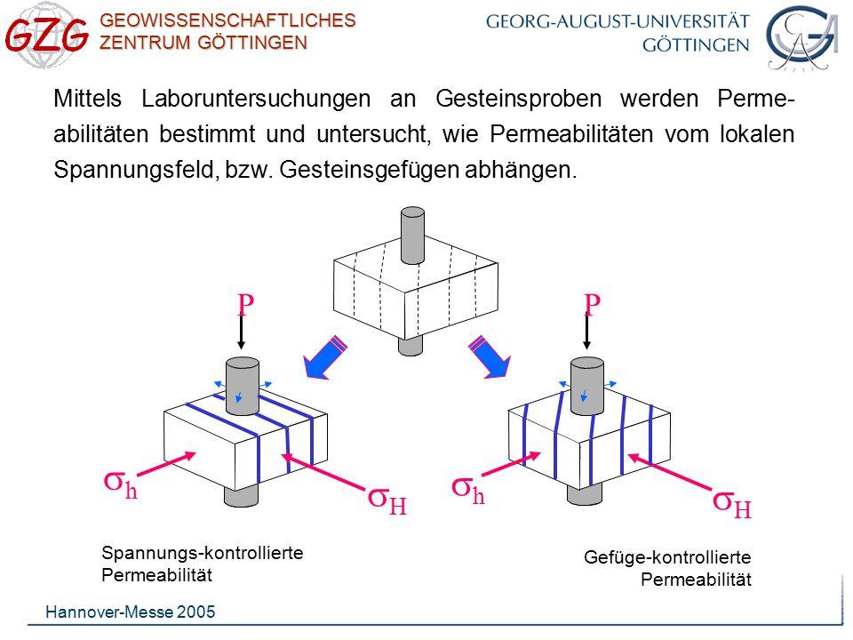 GEOWISSENSCHAFTLICHES ZENTRUM GÖTTINGEN Hannover-Messe 2005 Mittels Laboruntersuchungen an Gesteinsproben werden Perme- abilitäten bestimmt und unters