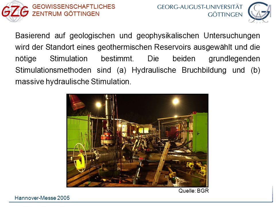 GEOWISSENSCHAFTLICHES ZENTRUM GÖTTINGEN Hannover-Messe 2005 Basierend auf geologischen und geophysikalischen Untersuchungen wird der Standort eines ge