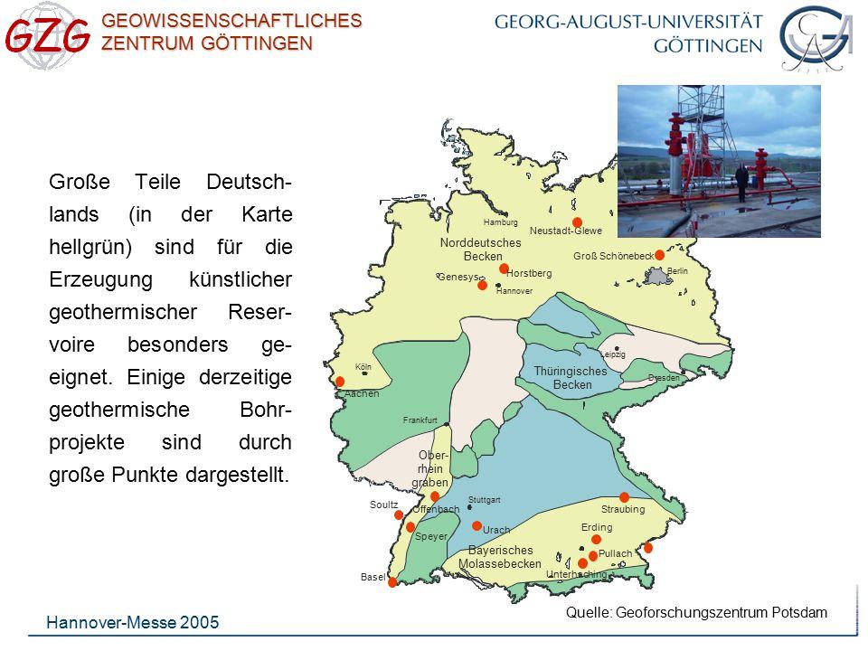 GEOWISSENSCHAFTLICHES ZENTRUM GÖTTINGEN Hannover-Messe 2005 Große Teile Deutsch- lands (in der Karte hellgrün) sind für die Erzeugung künstlicher geot