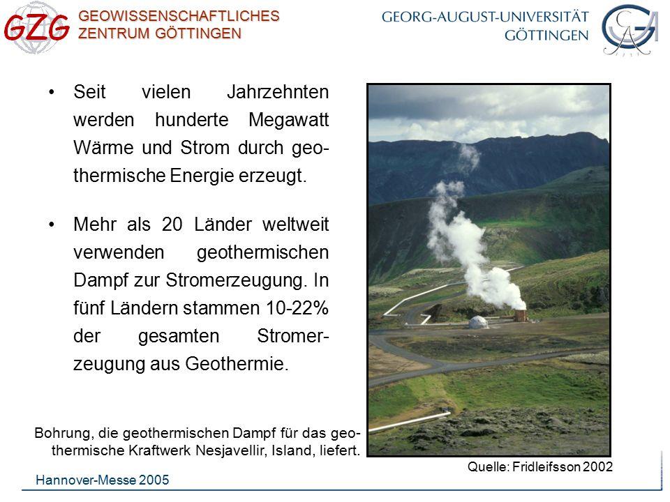 GEOWISSENSCHAFTLICHES ZENTRUM GÖTTINGEN Hannover-Messe 2005 Seit vielen Jahrzehnten werden hunderte Megawatt Wärme und Strom durch geo- thermische Ene