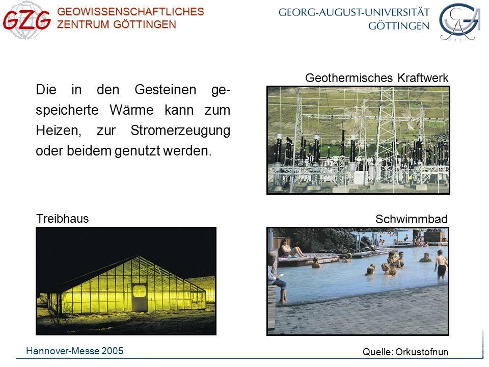 GEOWISSENSCHAFTLICHES ZENTRUM GÖTTINGEN Hannover-Messe 2005 Treibhaus Schwimmbad Geothermisches Kraftwerk Die in den Gesteinen ge- speicherte Wärme ka