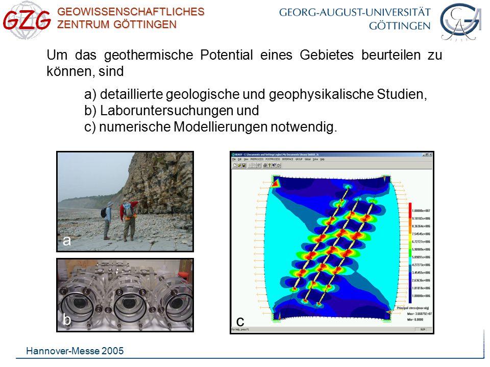 GEOWISSENSCHAFTLICHES ZENTRUM GÖTTINGEN Hannover-Messe 2005 Basierend auf geologischen und geophysikalischen Untersuchungen wird der Standort eines geothermischen Reservoirs ausgewählt und die nötige Stimulation bestimmt.