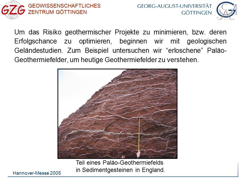 GEOWISSENSCHAFTLICHES ZENTRUM GÖTTINGEN Hannover-Messe 2005 Um die Permeabilität (Wasserdurchlässigkeit) eines geothermischen Reservoirs zu verstehen, muss das Bruchsystem des Reservoir- gesteins bekannt sein.