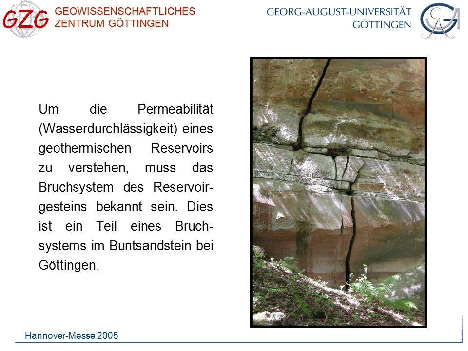 GEOWISSENSCHAFTLICHES ZENTRUM GÖTTINGEN Hannover-Messe 2005 Bei der massiven hydrau- lischen Stimulation werden natürliche Brüche geöffnet, wodurch ein Reservoir hoher Permeabilität zwischen zwei Bohrlöchern erzeugt wird.