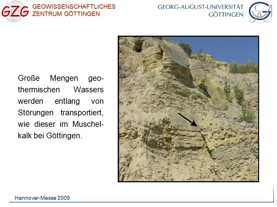 GEOWISSENSCHAFTLICHES ZENTRUM GÖTTINGEN Hannover-Messe 2005 Im Anschluss an geologische Untersuchungen, numerische Modellierungen und Stimulationsexperimenten, werden chemische Markierungsstoffe ( Tracer ) eingesetzt, um das Reservoir zu charakterisieren und dessen Permeabilität zu testen.