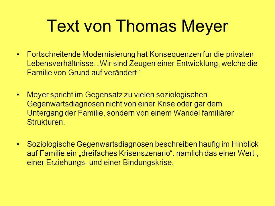 """Text von Thomas Meyer Fortschreitende Modernisierung hat Konsequenzen für die privaten Lebensverhältnisse: """"Wir sind Zeugen einer Entwicklung, welche die Familie von Grund auf verändert. Meyer spricht im Gegensatz zu vielen soziologischen Gegenwartsdiagnosen nicht von einer Krise oder gar dem Untergang der Familie, sondern von einem Wandel familiärer Strukturen."""