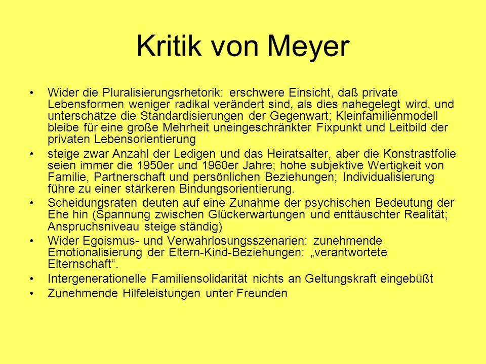 Kritik von Meyer Wider die Pluralisierungsrhetorik: erschwere Einsicht, daß private Lebensformen weniger radikal verändert sind, als dies nahegelegt w