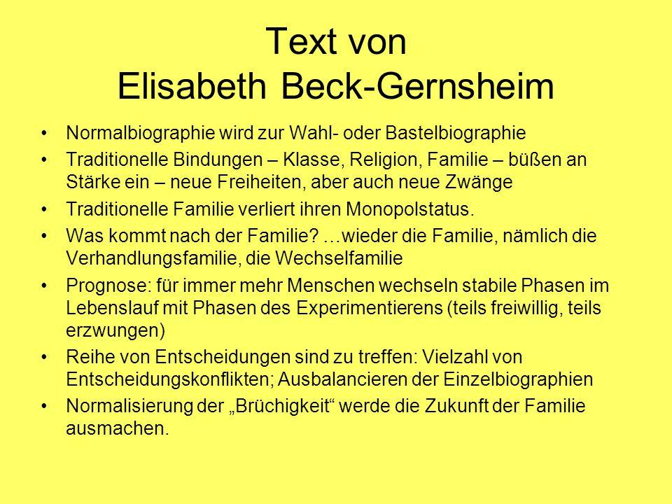 Text von Elisabeth Beck-Gernsheim Normalbiographie wird zur Wahl- oder Bastelbiographie Traditionelle Bindungen – Klasse, Religion, Familie – büßen an Stärke ein – neue Freiheiten, aber auch neue Zwänge Traditionelle Familie verliert ihren Monopolstatus.