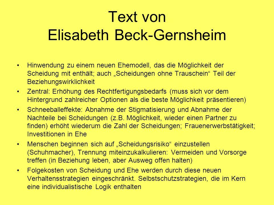 """Text von Elisabeth Beck-Gernsheim Hinwendung zu einem neuen Ehemodell, das die Möglichkeit der Scheidung mit enthält; auch """"Scheidungen ohne Trauschei"""