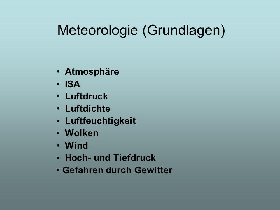 Meteorologie (Grundlagen) Atmosphäre ISA Luftdruck Luftdichte Luftfeuchtigkeit Wolken Wind Hoch- und Tiefdruck Gefahren durch Gewitter