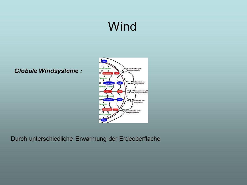 Wind Globale Windsysteme : Durch unterschiedliche Erwärmung der Erdeoberfläche