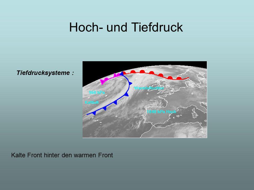 Tiefdrucksysteme : Kalte Front hinter den warmen Front Hoch- und Tiefdruck