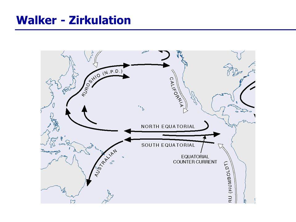 im Rahmen der Walker-Zirkulation wird im tropischen Pazifik durch den Antrieb der Passat – Winde oberflächennahes Ozeanwasser nach Westen (Asien) geschoben.