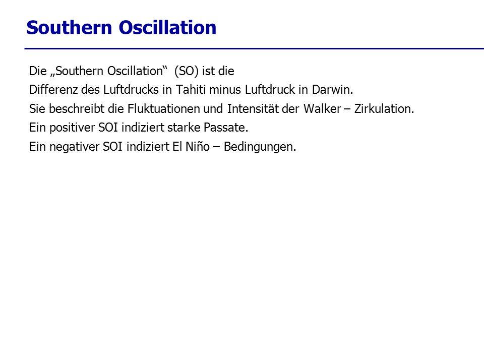 """Southern Oscillation Die """"Southern Oscillation"""" (SO) ist die Differenz des Luftdrucks in Tahiti minus Luftdruck in Darwin. Sie beschreibt die Fluktuat"""