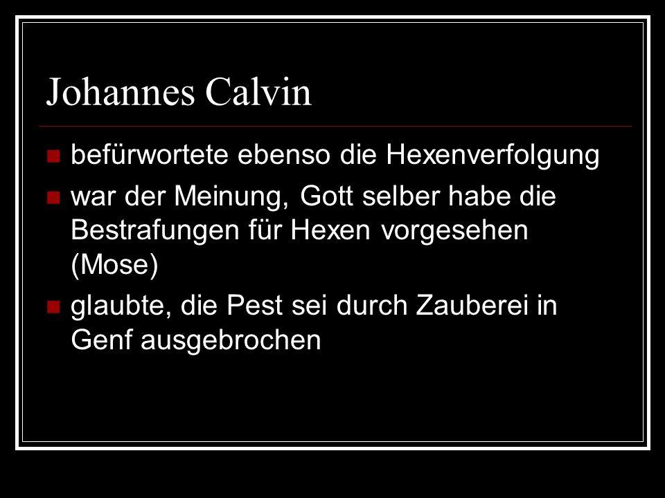 Johannes Calvin befürwortete ebenso die Hexenverfolgung war der Meinung, Gott selber habe die Bestrafungen für Hexen vorgesehen (Mose) glaubte, die Pe