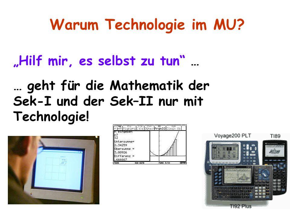 """""""Hilf mir, es selbst zu tun"""" … … geht für die Mathematik der Sek-I und der Sek–II nur mit Technologie! Warum Technologie im MU?"""